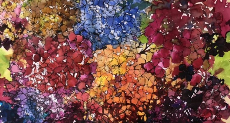 Mixed Media Flower Painting: Hydrangeas